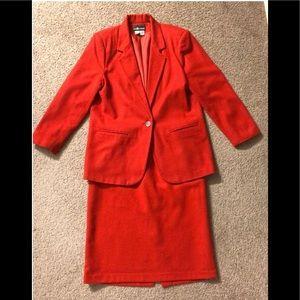 Sag Harbor 100% Wool Skirt Blazer Red Suit Sz 12🦋